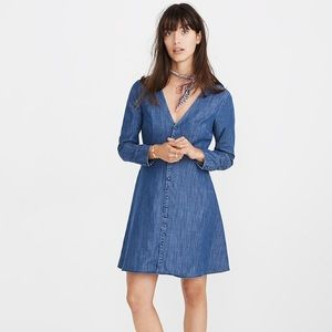 NWT Madewell Denim Lilyblossom Button-Front Dress